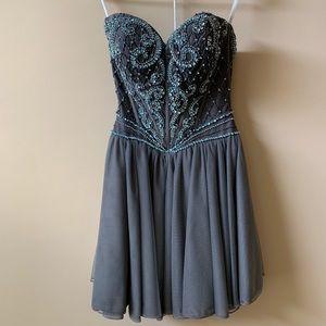 Sherri hill gunmetal gray/ice dress